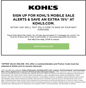 how to get kohls mobile coupons - kohls text coupons