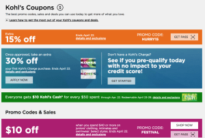 where to find kohls coupons and promo codes