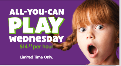 all you can play wednesday at Chuck E Cheese - unlimited games