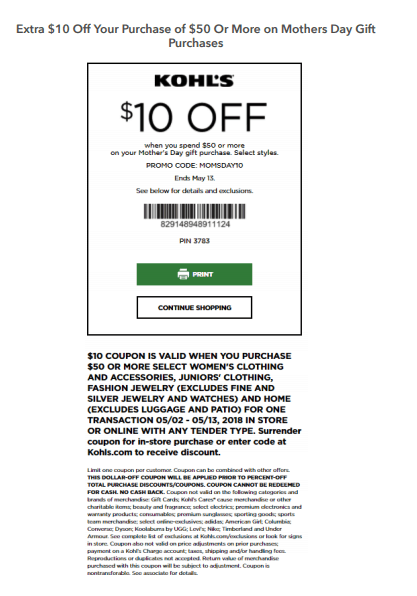 kohls mothers day 2018 printable coupon code