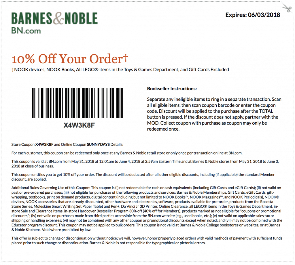 Barnes and Noble printable coupon June 2018 10% off entire purchase