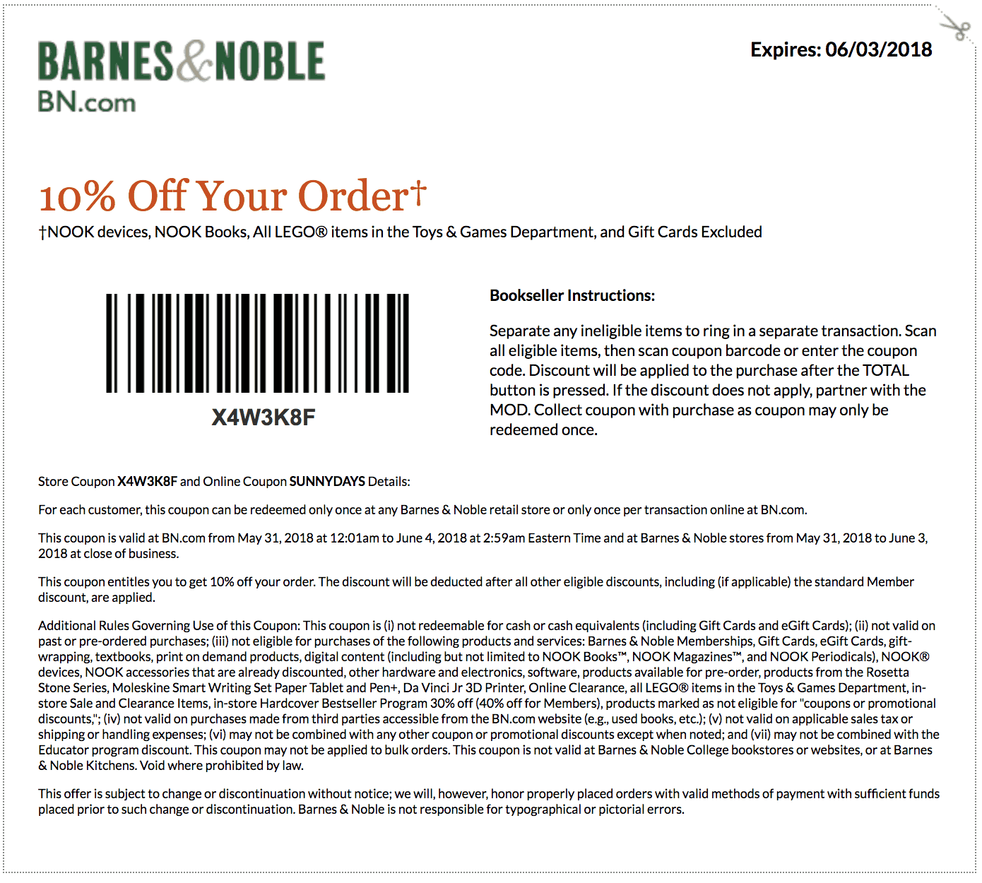 Coupon code barnes and noble