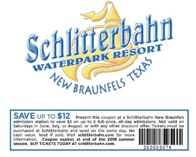 Schlitterbahn New Braunfels printable coupon 2019-min
