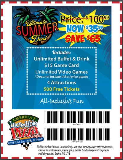 incredible pizza san antonio coupon summer 2018