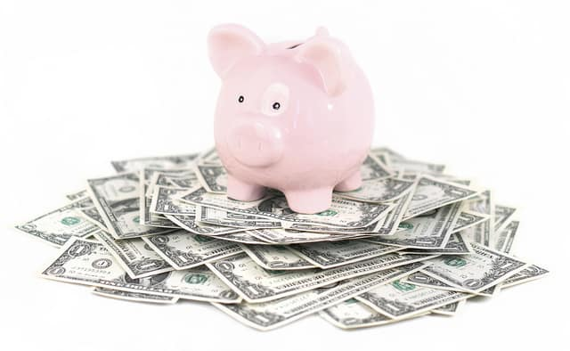piggy bank dollars money How to save money on healthcare, home, and entertainment expenses