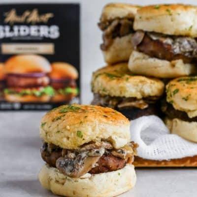 Garlic Bread Pull-Apart Mushroom Beef Sliders Recipe