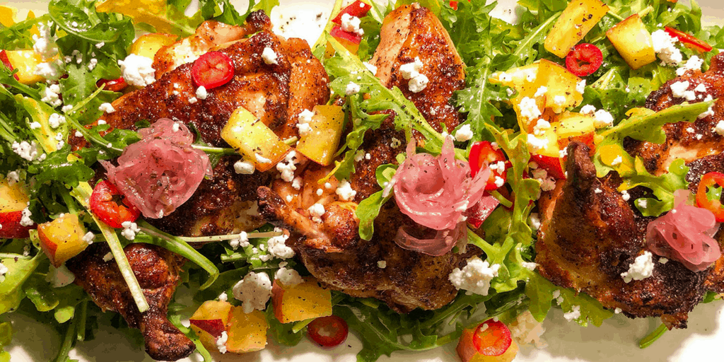 quick easy healthy main meal recipe with peaches and chicken - summer salad recipe