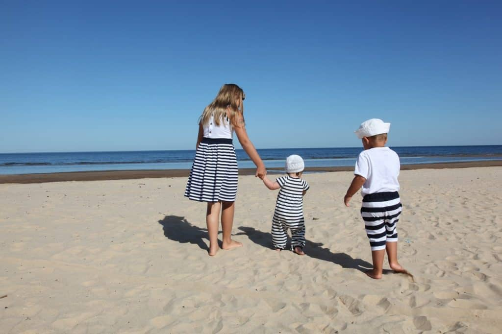 family beach kids
