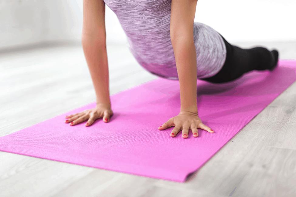 upward facing dog yoga pose yoga mat