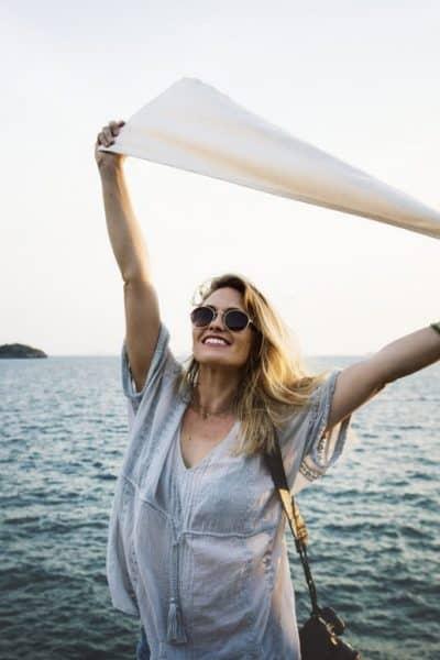 woman beach water dreams