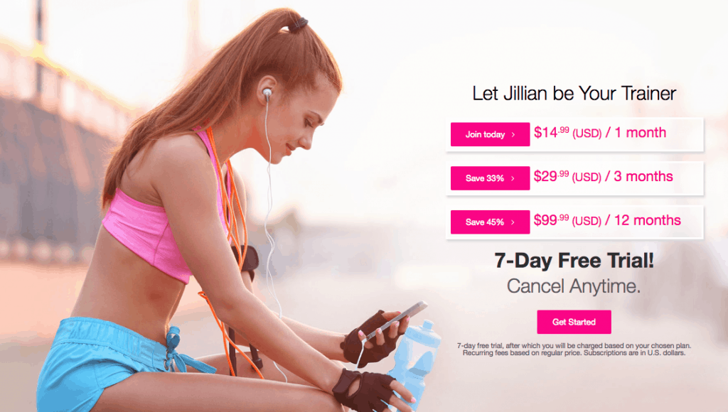 free or inexpensive online workouts and exercise programs - Jillian Michaels app free trial