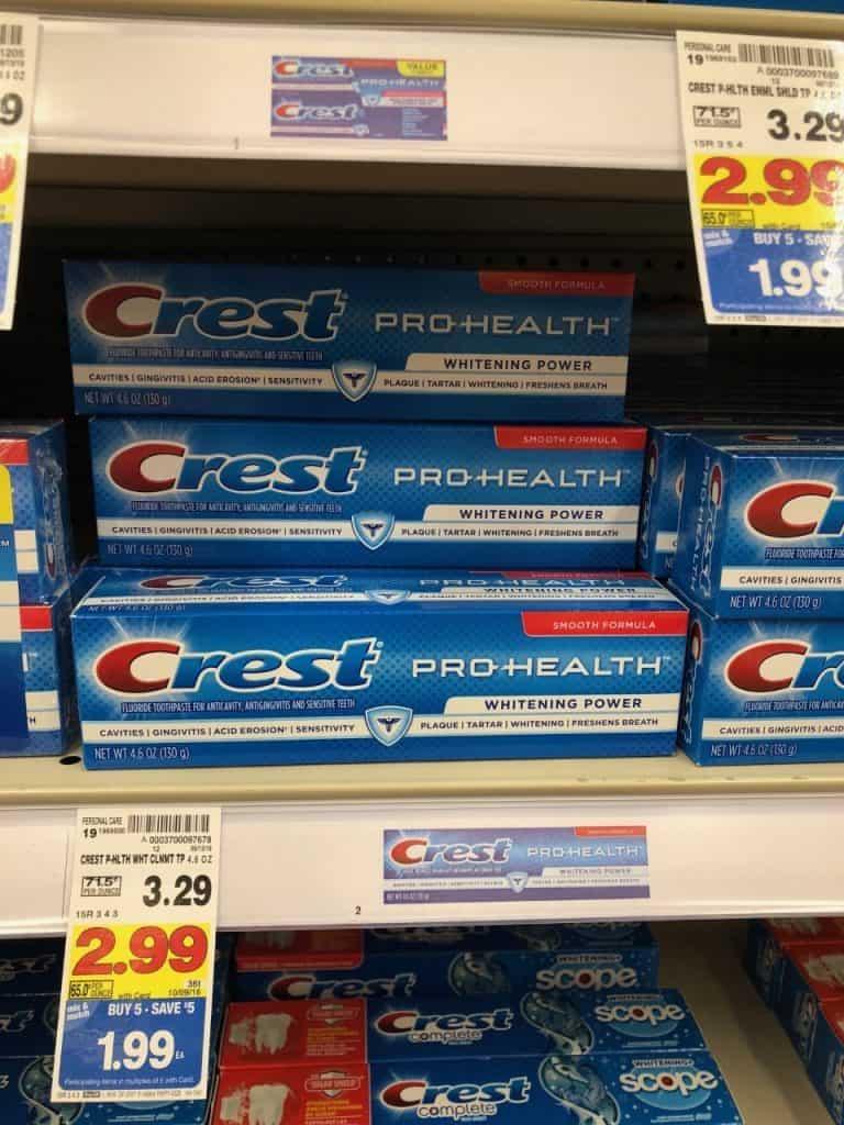 crest pro health on shelf at Kroger