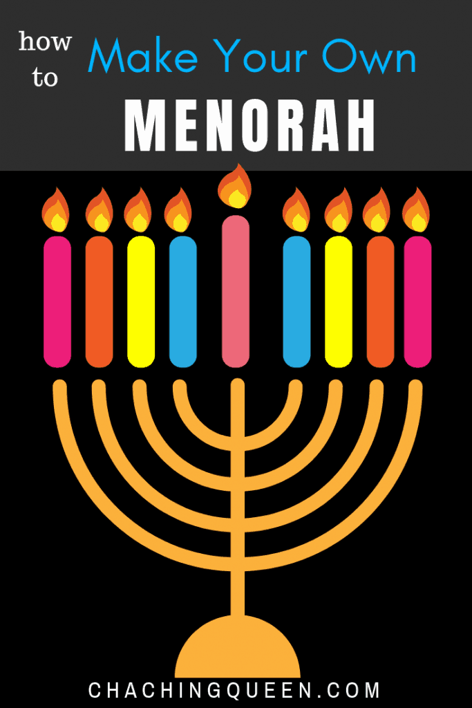How to make your own Hanukkah menorah.  Here are several DIY Hanukkah menorah Jewish craft projects. #hanukkah #diymenorah #menorahs #jewishcrafts #jewish #crafts #chachingqueen