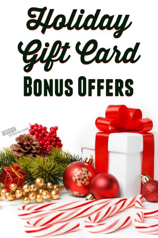 List of Holiday Bonus Gift Card Offers 2018