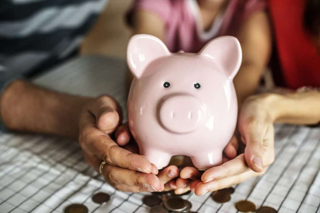 person hands holding piggy bank