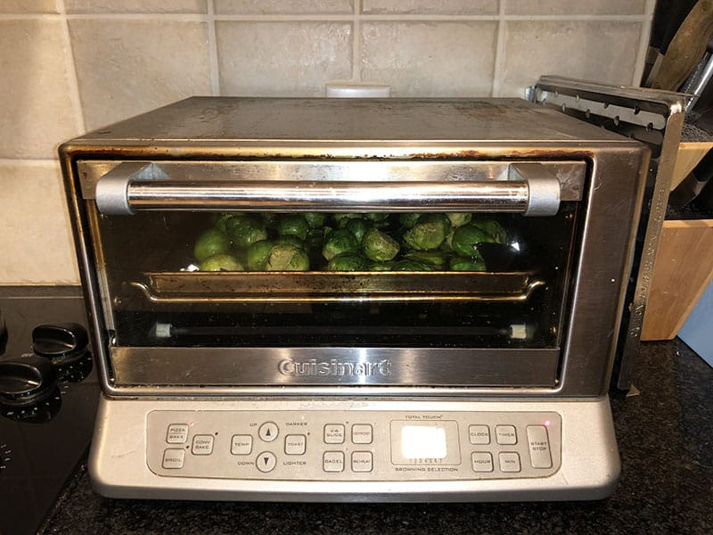 recipe for roastedBrussels sprouts with maple syrup and soy sauce in Cuisinart toaster oven