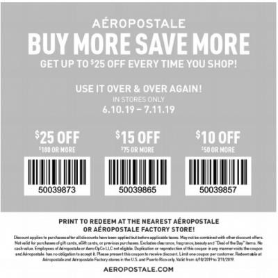 Aeropostale Coupons – 2019 Printable Coupons and Coupon Codes