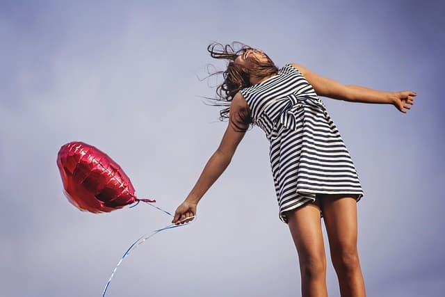 happy girl with a balloon