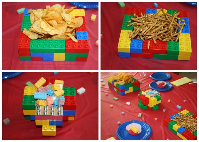 LEGO party playdate snacks in bowls made from LEGO and Duplo blocks