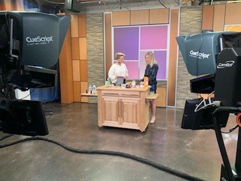 Rachel Belkin of Cha Ching Queen on the news Studio 512 segment in Austin, Texas