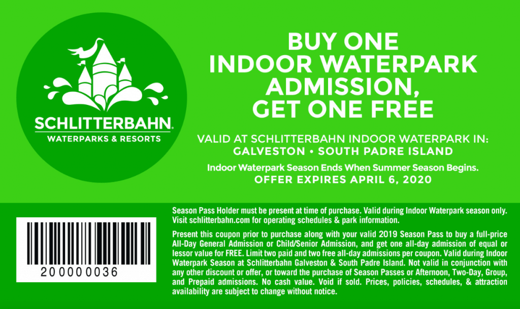 Schlitterbahn Galveston Coupons and South Padre Indoor water park