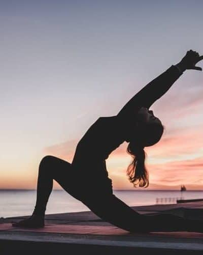 yoga at sunset or sunrise