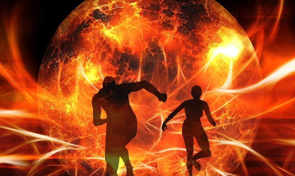 silhouette-man woman running from fire emergeny