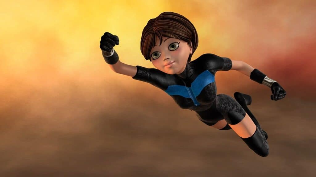 superhero woman flying cape