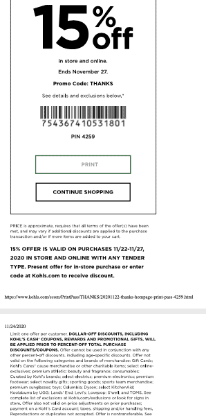 kohls printable coupon november 2020