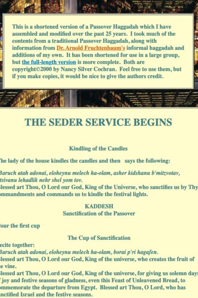 Nancy Silver Cochran traditional passover haggadah online new testament