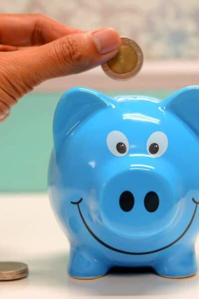 blue piggy bank coin