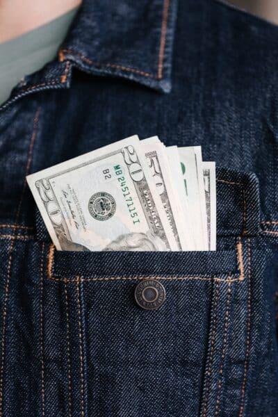 money bills in pocket