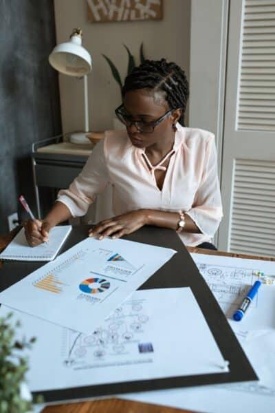 woman artist working business